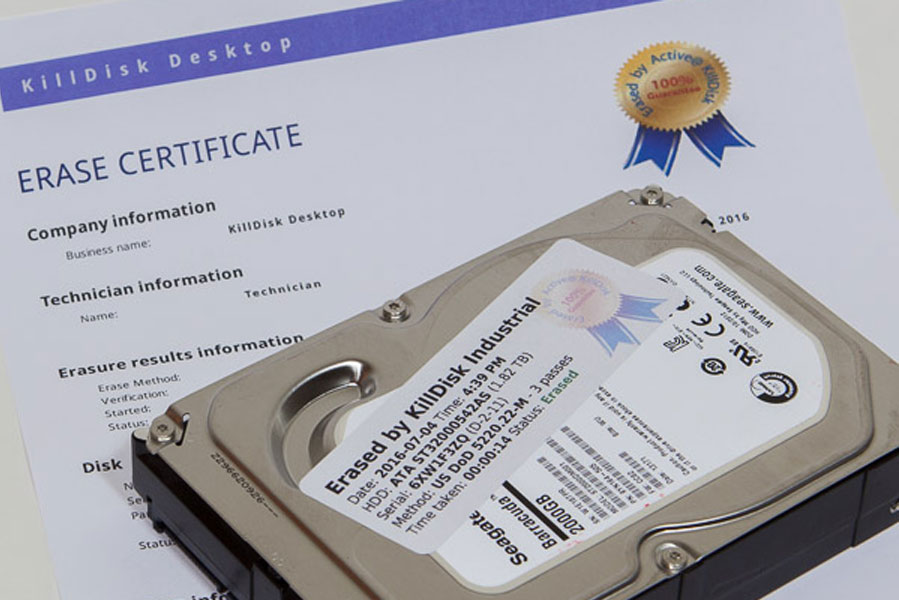Certificate and label for erased disks